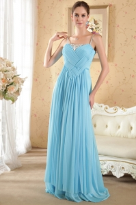 Aqua Prom / Evening Dress with Spaghetti Straps Beading and Ruch