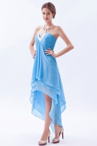 V-neck High-low Chiffon Beading Prom Dress Baby Blue