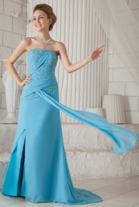 Blue Strapless Chiffon Beading and Ruch Prom / Celebrity Dress