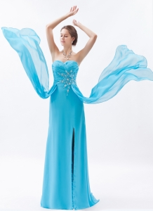 Baby Blue Column Prom Dress Sweetheart Chiffon Beading