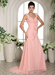 Straps Hand Made Flowers Baby Pink Prom Gowns Brush