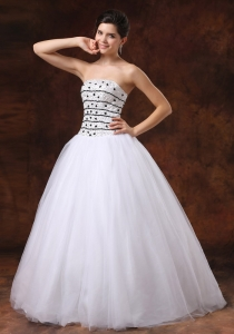 Ball Gown Beaded Prom Dress Tulle Floor-length