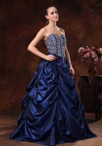 Beaded Navy Blue Prom / Evening Dress Pick-ups A-line