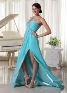 Beaded One Shoulder Baby Blue Prom Dress High Slit
