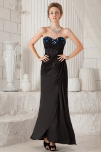 Ankle-length Taffeta Appliques Black Prom Dress