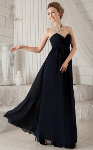 Chiffon Ruch Prom Dress Black Empire Sweetheart