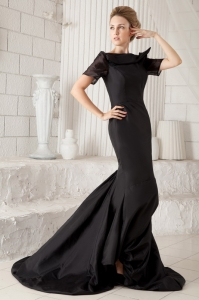 Mermaid Bateau Black Taffeta Prom Dress Brush Train