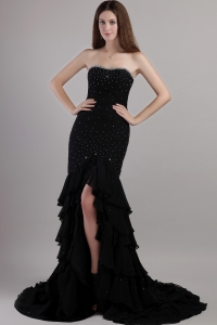 Black Prom Dress Mermaid Court Train Chiffon Beading