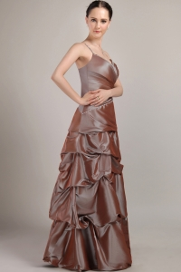 Taffeta Sequins Brown Prom Dress A-line Spaghetti Straps