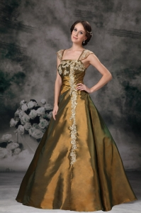 Brown Appliques Prom / Evening Dress Square Floor-length