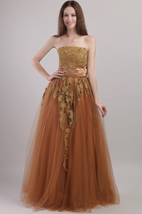 Tulle Appliques Brown Prom Dress Strapless Floor-length
