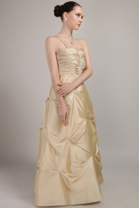 Spaghetti Straps Beading Champagne Prom Dress Ruch