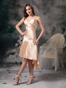 Sweetheart High-low Prom Dress Champagne Satin Ruch