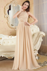 Halter Champagne Prom Dress Brush Train Chiffon Ruch
