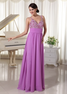 Straps Lavender Prom Party Dress Appliques Beading
