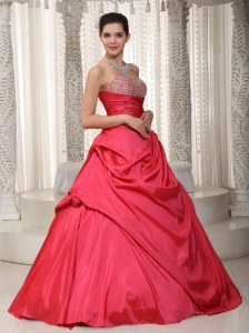 Coral Red A-line Prom / Evening Dress Taffeta Beading