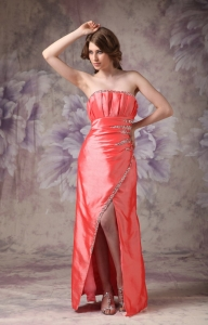 Strapless Taffeta Beading Prom Dress Coral Red Column