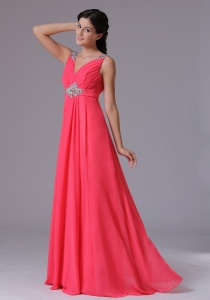 V-neck Beading and Ruch Coral Red Prom Dress for 2013