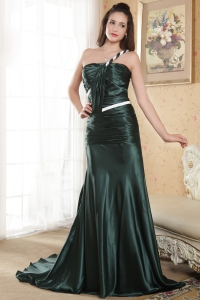 Dark Green One Shoulder Prom Dress Court Train Ruch