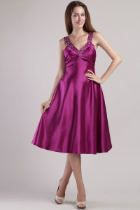 Ankle-length Fuchsia Prom / Pageant Dress Elastic Woven Satin