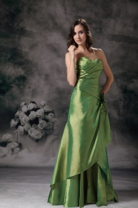 Green Hand Made Flowers Prom Dress Column Sweetheart
