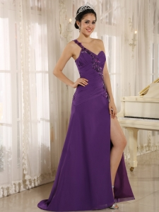 High Slit Purple Prom Dress Sequins One Shoulder Ruch