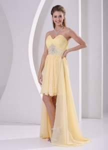 High-low Light Yellow Detachable Prom / Homecoming Dress