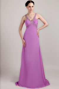 Lavender Ruch Prom Dress V-neck Brush Chiffon Beading