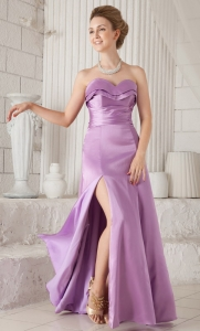 Sweetheart Lavender Floor-length Satin Ruch prom Dress