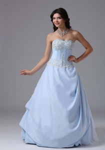 2013 Prom Dress Light Blue Sweetheart Appliques