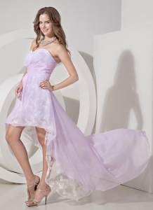 Sweetheart High-low Chiffon Embroidery Lilac Prom Dress