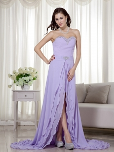 Lilac Sweetheart Chiffon Beading Detachable Prom Dress