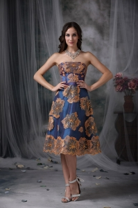 Strapless Tea-length Appliques Prom Dress Navy Blue