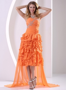 Beading Ruffles Orange Detachable High-low Prom / Homecoming Dress