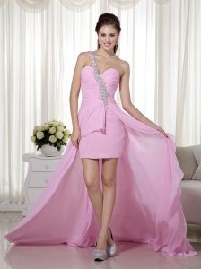 High-low Pink One Shoulder Chiffon Beading Prom Dress