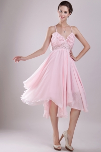 Beading Baby Pink Asymmetrical Prom / Homecoming Dress
