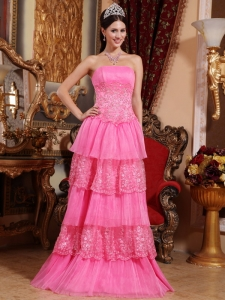 Hot Pink layered Strapless Lace Appliques Prom / Pageant Dress