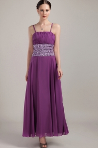 Ankle-length Chiffon Ruch Purple Straps Prom Dress