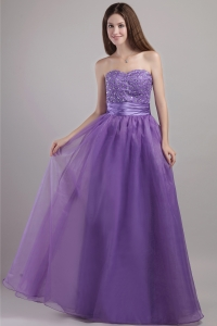 Purple Prom / Pageant Dress Beading Sweetheart Organza