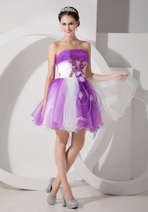 Purple and White Strapless Hand Made Flowers Prom Dress