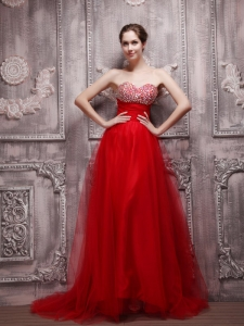 Red A-Line Sweetheart Brush Train Net Beading Prom Dress