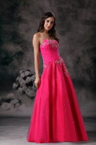 Sweetheart Beading Red Prom Dress A-line Organza