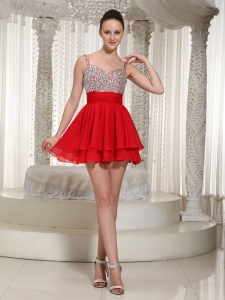 Spaghetti Straps Beaded Red Cocktail Dress Mini-length