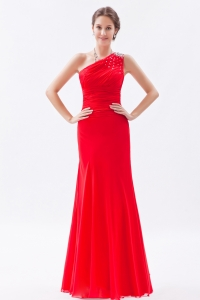 Red One Shoulder Prom Dress Floor-length Chiffon Beading