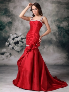 Mermaid Appliques Prom / Evening Dress Red Straps Brush