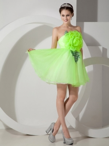 Mini-length Hand Made Flowers Organza Prom Dress Spring Green