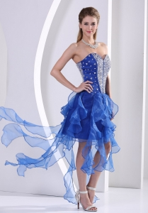 Beaded Royal Blue Asymmetrical Homecoming / Cocktail Dress Ruffles