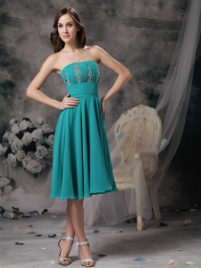 Knee-length Beading Prom Dress Turquoise Strapless
