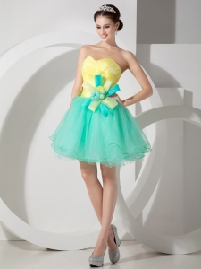 Turquoise and Yellow A-line Hand Made Flowers Prom Dress