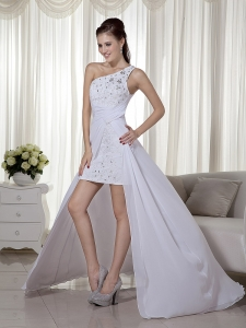 One Shoulder High-low Chiffon Beading White Prom Dress